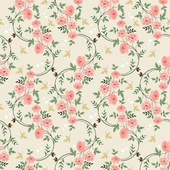 手描きの花のシームレスなパターン。