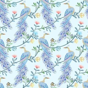 美しい孔雀のシームレスパターン。