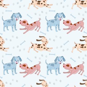 かわいい遊ぶ犬シームレスパターン。