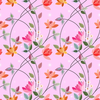 イラスト花ベクターデザインのシームレスパターン。