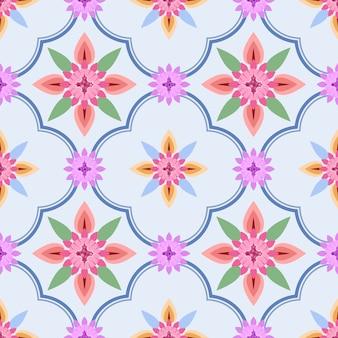 青色の背景に民族の花を持つ優雅さシームレスパターン。
