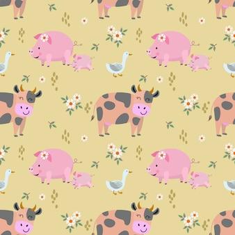 かわいい動物農場牛豚アヒルのシームレスパターン