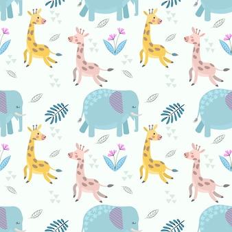 かわいい漫画のキリンと象のシームレスパターン。