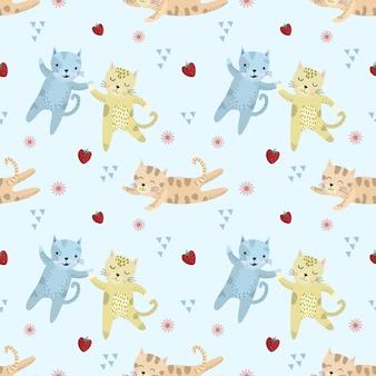かわいい猫のシームレスなパターンベクトルデザイン。