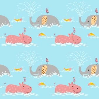 カバのシームレスなパターンを持つかわいい象。