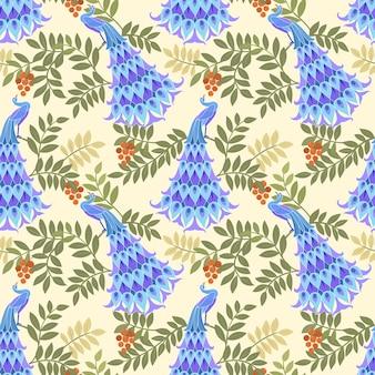 ファブリックの織物のための孔雀ベクターデザインシームレスパターン。