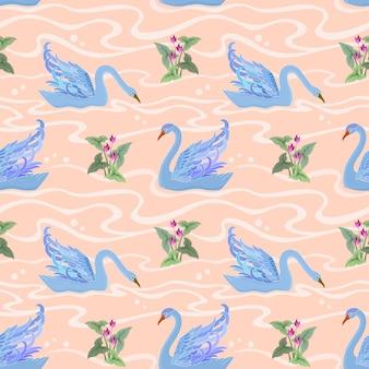 Бесшовный фон с лебедем. векторная иллюстрация