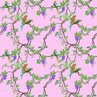 オウムとブドウのシームレスパターン