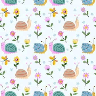 かわいいカタツムリと花のシームレスパターン。