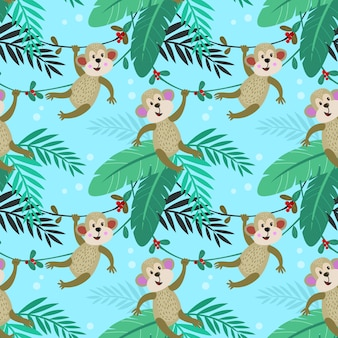Милая обезьяна в лесу бесшовные модели