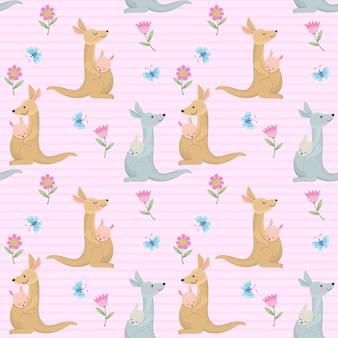かわいいカンガルーママと赤ちゃんのシームレスパターン