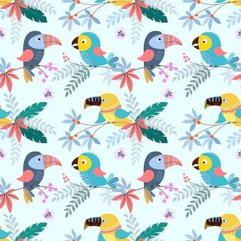 熱帯の葉のシームレスパターン生地繊維とかわいいカラフルな鳥。