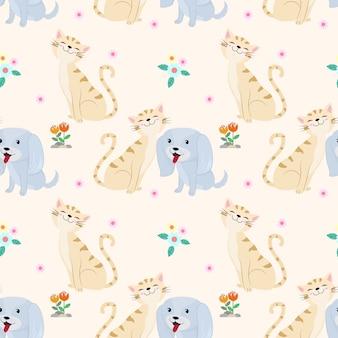 Безшовная картина с милой тканью ткани кота и собаки