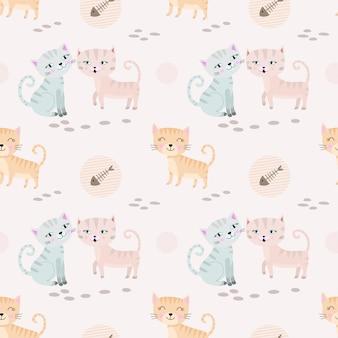 美しいかわいい猫のシームレスなパターン生地の繊維。