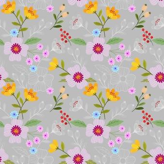 シームレスな色とりどりの花のパターン