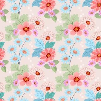 色とりどりの花でシームレスなパターンは、織物の壁紙をベクトルします。