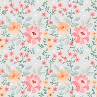 ファッションプリント、ラッピング、テキスタイル、紙、壁紙のためのシームレスなカラフルな花ベクトル。