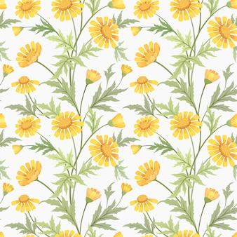 美しい黄色のデイジーの花のシームレスなパターンの生地の繊維。