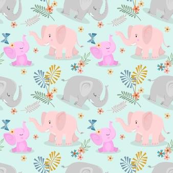 かわいい象の家族と蝶のシームレスパターン