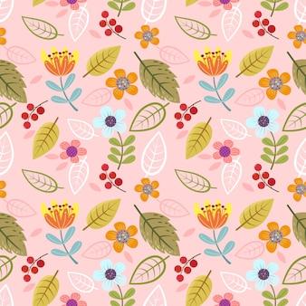 抽象的な花とハーブのシームレスパターン