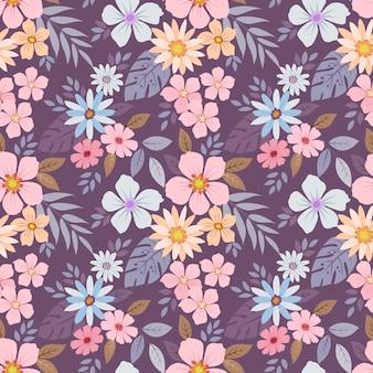 カラフルな手描きの花のパターン
