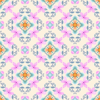 幾何学的形状のシームレスなパターンを持つピンクの花。