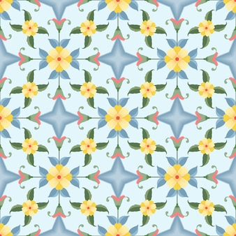 幾何学的形状のシームレスなパターンを持つ黄色い花。