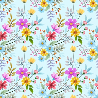 カラフルな手描きの花のシームレスなパターンベクトルデザイン。ファブリックテキスタイルの壁紙に使用できます。