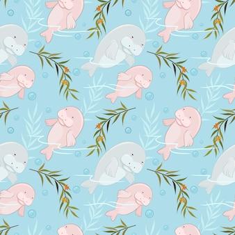 海の牛またはジュゴンの母親と赤ちゃんの水のシームレスなパターン。