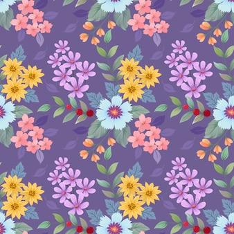 カラフルな手描きの花のパターン。