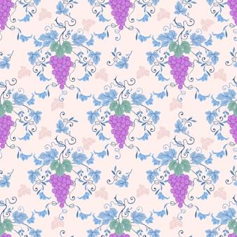Бесшовные с фиолетовыми виноградными лозами