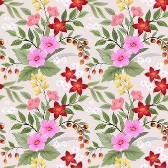 Красочные рисованной цветы бесшовные модели вектор дизайн. можно использовать для тканевых текстильных обоев.