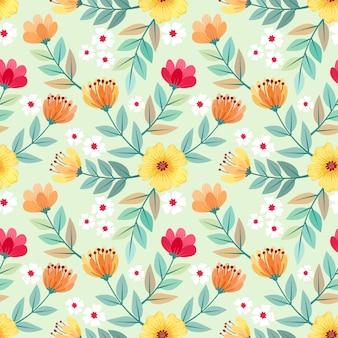 カラフルな手描きの花のシームレスなパターンの壁紙