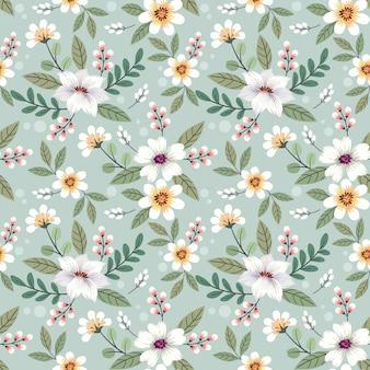 カラフルな手描きの花のシームレスなパターンデザイン。