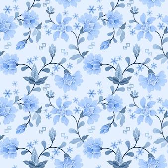 白と青の花のシームレスパターン