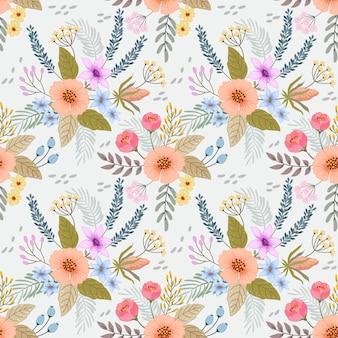 色とりどりの花のシームレスパターン