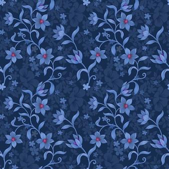 青のモノクロ背景ファブリックテキスタイル壁紙にシームレスな花柄。
