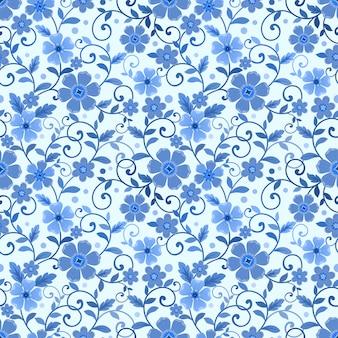 Бесшовный цветочный узор на синем монохромном фоне ткани текстильные обои.