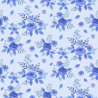 花と葉と青のシームレスなパターン
