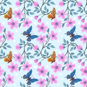 Красочные руки нарисовать цветы и бабочки бесшовный фон