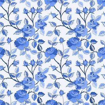 青いバラのシームレスパターン