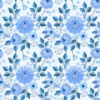 青い花と葉のシームレスパターン