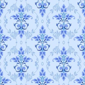 青い飾りのシームレスパターンは、背景の壁紙に使用できます。