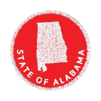 アラバマ州の地図の刺繍状態