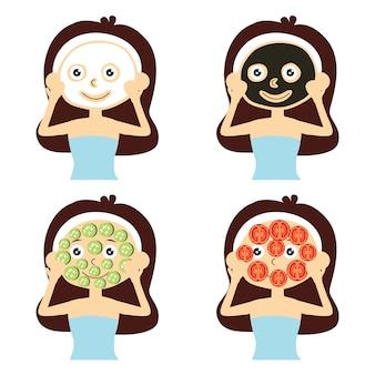 フェイシャルマスクを持つ女性