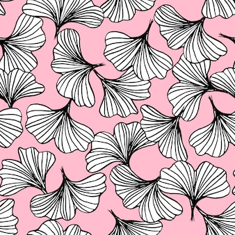 黒と白のイチョウの概要葉のシームレスパターン