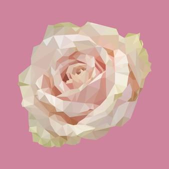 幾何学的な多角形のライトピンクローズ、孤立した多角形ベクトル花イラスト