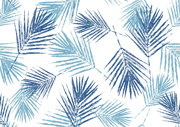 自然の青いヤシの葉のスタンプ