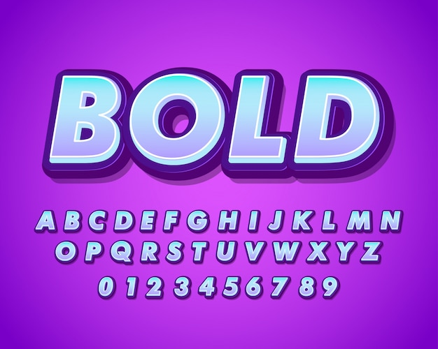 Современный жирный алфавит с мягким градиентом
