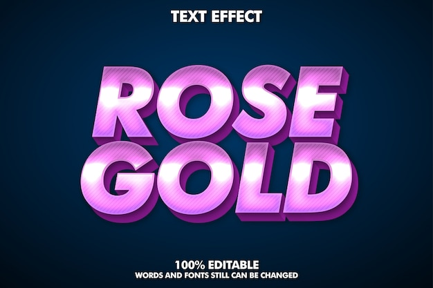 Текст с эффектом блестящего розового золота